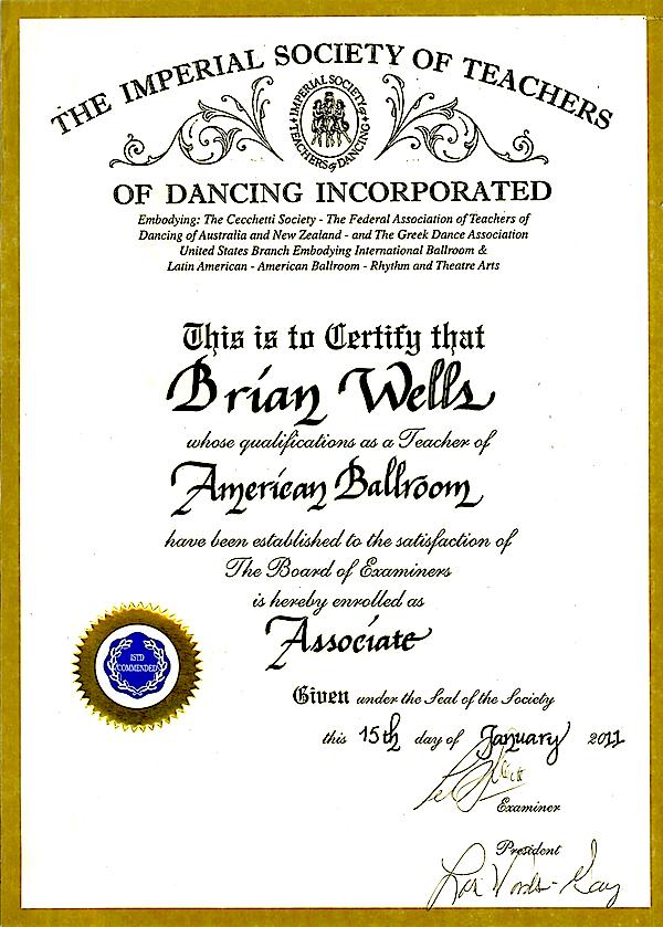 Brian\'s Certifications – Starliters Dance